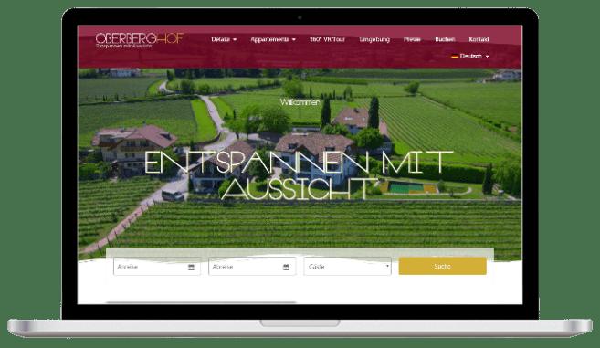 Webseite für Ferienwohnung - Screenshot